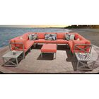 Carlisle 12 Piece Outdoor Sectional Set with Cushions Cushion Color: Tangerine