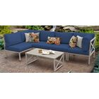 Carlisle 6 Piece Outdoor Sectional Set with Cushions Cushion Color: Navy