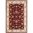 Hausmann Hand-Hooked Red/Ivory Area Rug Rug Size: Rectangle 6' x 9'
