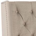 Center Trenton Upholstered Wingback Headboard Size: Twin, Upholstery: Linen Light Gray