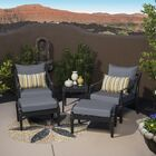 Portsmouth 5 Piece 2 Person Seating Group with Cushions Fabric: Charcoal Grey