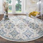 Minonk Ivory/Light Blue Area Rug Rug Size: Round 6'7
