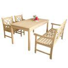 Baskerville Outdoor 4 Piece Dining Set