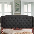 Leatham Upholstered Wingback Headboard Upholstery: Charcoal, Size: Full