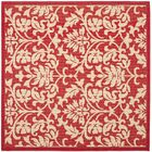 Bexton Hand-Woven Red/Natural Indoor/Outdoor Area Rug Rug Size: Square 6'7