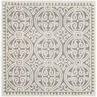 Landen Hand-Tufted Silver/Ivory Area Rug Rug Size: Square 10'