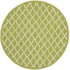 Fullerton Hand-Woven Cotton Olive/Ivory Area Rug Rug Size: Round 6'