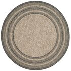 Rockbridge Natural/Black Indoor/Outdoor Area Rug Rug Size: Round 6'7