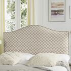 Carol Queen Upholstered Panel Headboard Color: Peach Pink & White