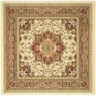 Theresa Ivory/Red Area Rug Rug Size: Square 6'