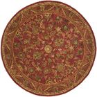Dunbar Hand-Woven Wool Red/Gold/Green Area Rug Rug Size: Round 3'6
