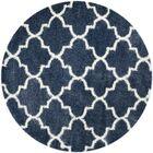 Bingham Blue/White Area Rug Rug Size: Round 6'7