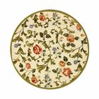 Helena Ivory/Green Area Rug Rug Size: Round 4'
