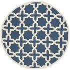 Martins Navy Blue / Ivory Area Rug Rug Size: Round 4'