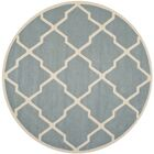 Wilkin Hand-Tufted Wool Blue/Ivory Area Rug Rug Size: Round 5'