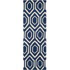 Wilkin Hand-Tufted Wool Dark Blue/Ivory Area Rug Rug Size: Runner 2'3