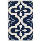 Wilkin Moroccan Hand-Tufted Wool Dark Blue/Ivory Area Rug Rug Size: Rectangle 4' x 6'