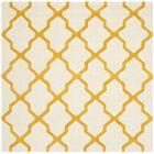 Charlenne Hand-Tufted Ivory/Gold Area Rug Rug Size: Square 6'