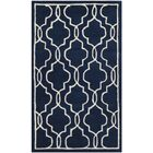Wilkin Hand-Woven Dark Blue/Ivory Area Rug Rug Size: Rectangle 3' x 5'