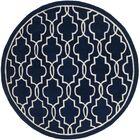Wilkin Hand-Woven Dark Blue/Ivory Area Rug Rug Size: Round 5'