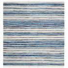 Shinn Hand-Woven Ivory/Blue Area Rug Rug Size: Rectangle 4' x 6'