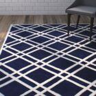 Wilkin Hand-Tufted Wool Dark Blue/Ivory Area Rug Rug Size: Rectangle 8' x 10'