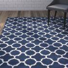 Wilkin Circle Dark Blue & Ivory Area Rug Rug Size: Rectangle 5' x 8'