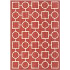 Jefferson Place Red/Bone Outdoor Area Rug Rug Size: Rectangle 5'3