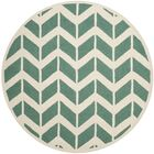 Martins Teal/Ivory Area Rug Rug Size: Round 6'