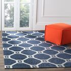 Columbus Circle Hand-Loomed Navy/Silver Area Rug Rug Size: Rectangle 5' x 8'