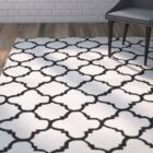 Wilkin Hand-Tufted Ivory/Black Area Rug Rug Size: Rectangle 3' x 5'