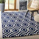 Wilkin Hand-Tufted Wool Dark Blue/Ivory Area Rug Rug Size: Rectangle 5' x 8'