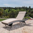 Chantrell Modern Wicker Chaise Lounge with Cushion Fabric: Brown/White