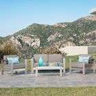 Durbin 4 Piece Sunbrella Sofa Set with Cushions Cushion Color: Sunbrella Canvas Aruba, Frame Color:  Silver
