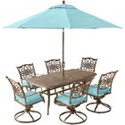 Lauritsen 7 Piece Dining Set with Cushions and Umbrella Stand