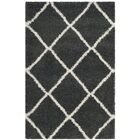 Humberto Shag Dark Grey/Ivory Area Rug Rug Size: Rectangle 4' x 6'