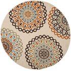 Palma Ivory/Brown Indoor/Outdoor Area Rug Rug Size: Round 6'7