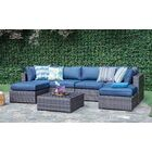 Lara 7 Piece Sectional Set with Cushions Fabric: Ribbed Navy