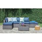 Lara 6 Piece Rattan Sectional Set with Cushions Frame Finish: Miixed Coffee, Fabric: Ribbed Navy