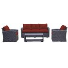 Behan 4 Piece Sofa Set with Cushions Color: Brick