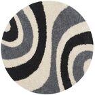 Swanson Ivory & Grey Contemporary Area Rug Rug Size: Round 5'