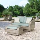 Castelli Loveseat and Ottoman with Cushions Fabric: Spa Blue