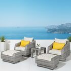 Greenfield Deluxe 5 Piece Rattan Sunbrella Conversation Set with Cushions Fabric: Yellow