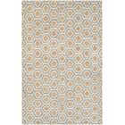 San Diego Steel Hand-Knotted Blue/Camel Area Rug Rug Size: Rectangle 5'6