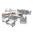 Gary 18 Piece Rattan Sunbrella Conversation Set with Cushions Cushion Color: Moroccan Cream, Frame Finish: Gray