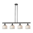 Chaplin Glass Bell 4-Light Kitchen Island Pendant Shade Color: Matte White Cased, Finish: Oil Rubbed Bronze, Size: 48