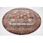 Nathanson Brown/Red Area Rug Rug Size: Round 8'