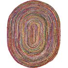 Partee Hand-Braided Red Area Rug Rug Size: Oval 8' x 10'