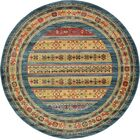 Foret Noire Machine Woven Blue Area Rug Rug Size: Round 6.1'