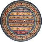 Foret Noire Machine Woven Blue Area Rug Rug Size: Round 8'